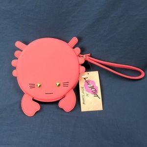 Luv Betsey Johnson Coral CRAB Coin Purse Wristlet